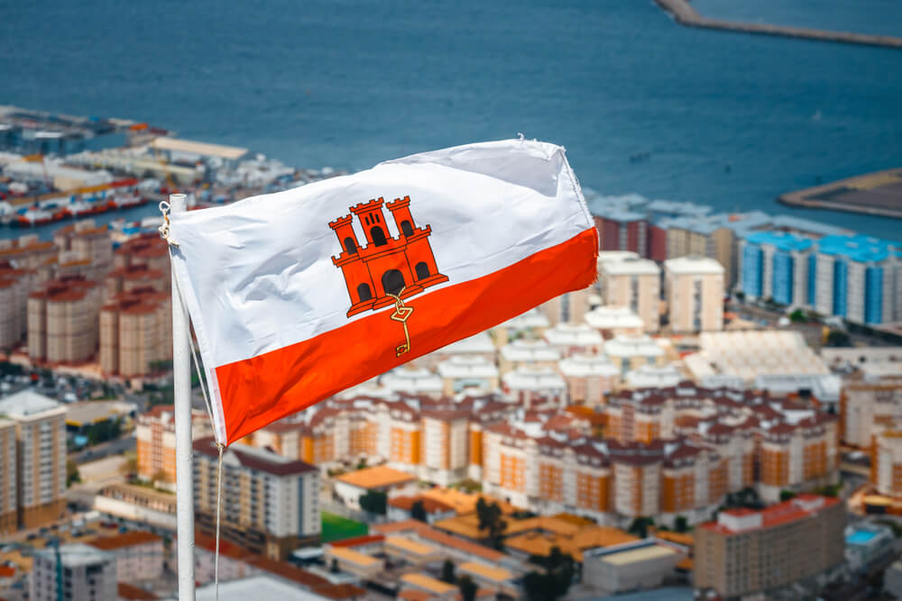 Gibraltar flag waving